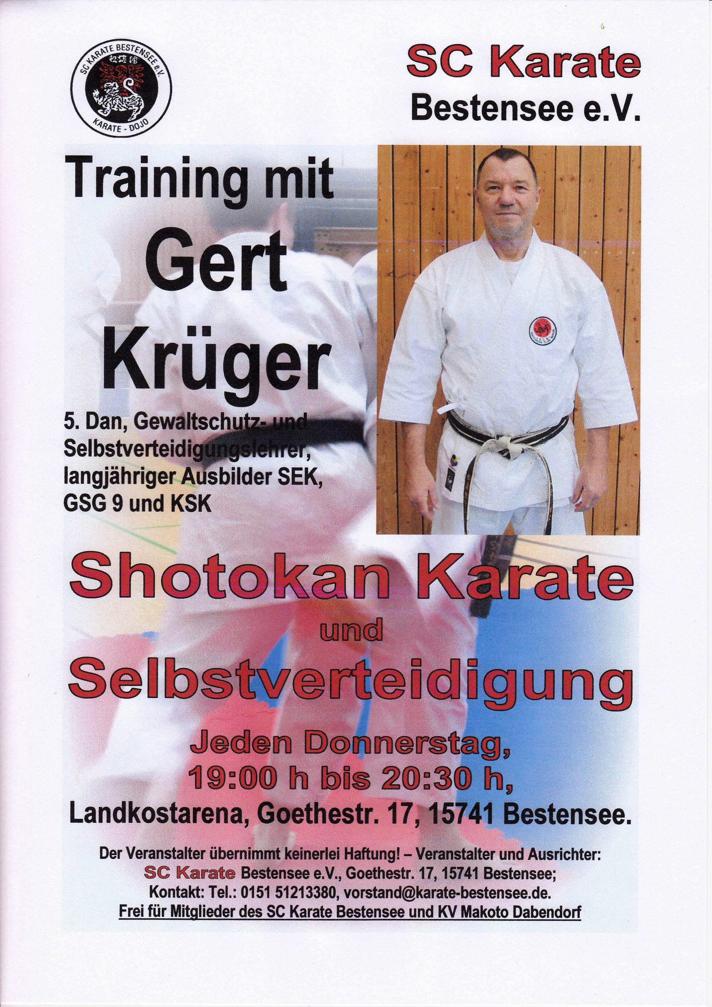 Zusätzliches Training mit Gert Krüger